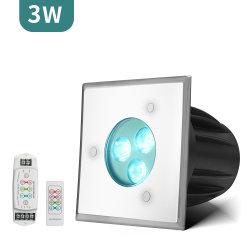 هيكل DC24 IP68 مربع بقدرة 3 واط، إضاءة أفقية صغيرة LED مقاومة للماء مصباح أرضي