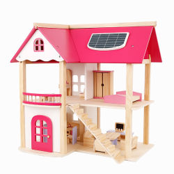 New Style Hot Sale Play House Toys Set Houten roze Doll House Toy Baby Dollhouse Toy