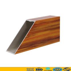 Perfil de janelas e portas de alumínio quadro de construção com superfície de grãos de madeira