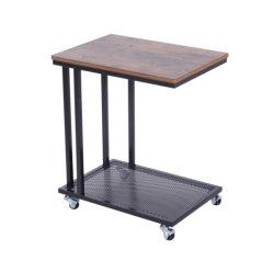 Mobile Extremo Sofá mesa de café mesa de café la base del portátil el marco de Metal Laminado de madera de almacenamiento de las ruedecillas de carro