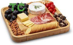 Natürliches Bamboo Käseplatte & Besteck Set mit ausziehbaren Schubladen Und Messer