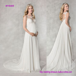 Линия платье империи венчания Neckline шнурка иллюзиона Delicated Beaded флористическое