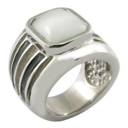 エナメル白い石造りミラーのポーランド人の宝石類の大きいStonのリング