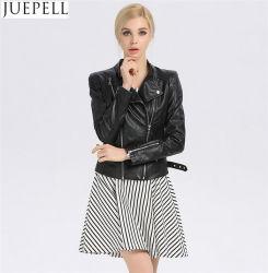 Europa nueva decoración de cremallera doble de la mujer delgada PU Locomotora chaquetas de cuero de PU lavado abrigo chaqueta de EE.UU.
