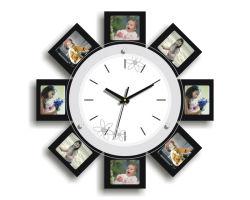 Nouveau design cadre photo Horloge murale en bois Cadre photo