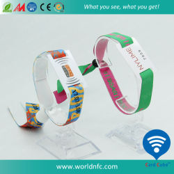 Kundenspezifischer Firmenzeichen gedruckter Gewebe13.56mhz RFID Wristband für Ereignis