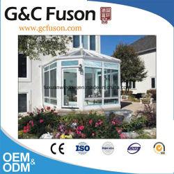 G&C Fuson Cristal Térmico templado de lujo Casa Casa Verde terraza interior de aluminio color madera/Sala de Sun.