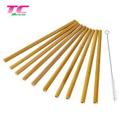 Cannuccia di bambù personalizzata amichevole di marchio di Morecredit Eco con la paglia di bambù naturale della spazzola 100%
