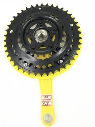 노란 색깔 산 자전거 3 속도 Chainwheel 및 크랭크. MTB 스프로킷
