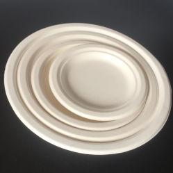 El grabado de placas de la Ronda de papel desechables de fibra de bambú compostable para la cena para una comida deliciosa con Color limpio