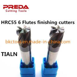 Herramientas de corte CNC de carburo sólido HRC55 6 Flautas el acabado final Mill Fresa o de la dureza del metal