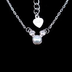 Collana minimalista di stile del campione della perla coreana dell'argento per l'aggancio delle donne