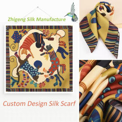 Высокой Моды пользовательский дизайн печати леди шелковые шарфы