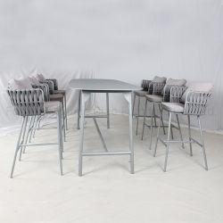 Outdoor rotin haut tabourets de bar Set de table chaise de jardin Meubles en osier