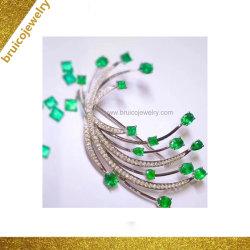 女性の贅沢な宝石類の方法ダイヤモンドの宝石類CZのブローチ925の純銀製18K 14K 9Kの金の党のためのデラックスな宝石用原石のブローチ