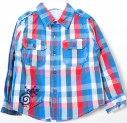 方法によって編まれる格子縞の子供の綿ワイシャツの男の子の子供の衣服の子供の摩耗