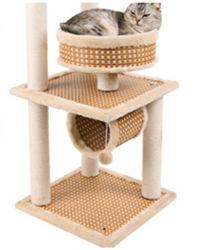 Vier niveaus activiteit voor het spelen van huisdieren Pet Products Fabrikant Levering Cat Toren met 2 bedden en House Cat Tree met krassen Bord Basket ligstoel Sisal Cat Tree