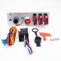 LEDの表示燈が付いているエンジンの開始の押しボタンのレースカーの点火スイッチのパネルのトグルスイッチ