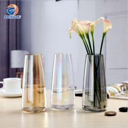Noric高級で簡単な様式の多彩の世帯のクラフトの花ガラスのつぼを吹く創造的な丸型の口