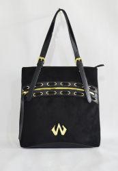 Cinghia di spalla nera del corpo della traversa del sacchetto della signora Tote della borsa di modo con gli occhielli ed il testo fisso del merletto