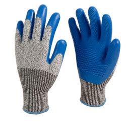 Het in reliëf gemaakte Latex bedekte anti-Scherpe Handschoenen met een laag sneed de Bestand Latex Ondergedompelde Handschoenen van de Veiligheid van het Werk