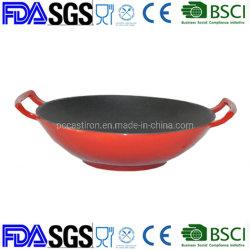 12'' Wok de hierro fundido esmaltado negro interior rojo exterior