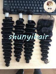 100%の加工されていないバージンのブラジルの毛の深い波の人間の毛髪のRemyの深い毛の束の自然なカラーを完成しなさい