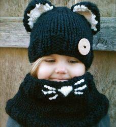Set di orecchie per gatti a maglia cappello per bambini Cappello di protezione per bambini lavorato a mano con collo caldo