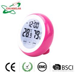 Commerce de gros thermomètre hygromètre digital à l'intérieur avec l'horloge de l'humidité Indicateur de jauge de la chambre