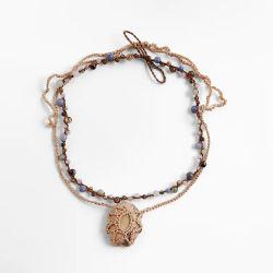 مجوهرات بوهيميا الحجر & قلادة سلسلة مزدوجة عقد الخرز