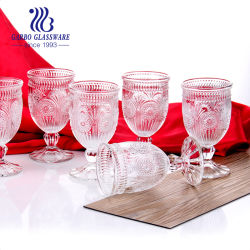 L'alta qualità ha inciso il vino di vetro impresso disegno Stemware di vetro di reticolo del diamante del calice del vino rosso del reticolo con il prezzo all'ingrosso per la barra di hotel