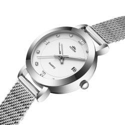 Logotipo personalizado Movimiento de cuarzo analógico de Japón con la fecha de la moda de plata diamantes Reloj de dama