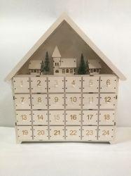 LED de couleur blanche maison en bois avec Noël Décoration 24 tiroirs