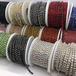 La fascia di pietra di vetro di cristallo di Strass della catena della tazza del Rhinestone di DIY ab cuce sui Rhinestones per gli accessori dei monili del diamante dei vestiti