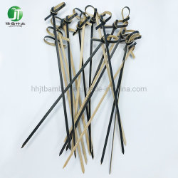 Flor de pontos nodados espetos de bambu preto Cocktail biodegradáveis capta