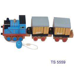 مجموعة قطارات خشبية ثلاث عربات