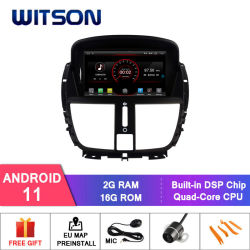 Peugeot 207용 Witson 쿼드 코어 Android 11 차량용 DVD GPS 16GB iNAND 플래시 내장
