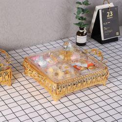올인원 크리에이티브 아크릴 메탈 다목적 파티 스낵 트레이 뚜껑을 덮고 말린 과일 견과류 캔디 과일을 위한 요리를 제공합니다 4칸의 캔디 박스 스탠드