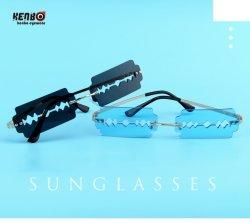 Очки Kenbo 2020 новых рейсов новейших Fashion Blade моделей Cool Безободковые вырезать солнечные очки тенденция ослепляет цвет солнцезащитных очков