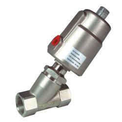 Latón/acero inoxidable y aluminio enroscado el ángulo de asiento de válvula neumática