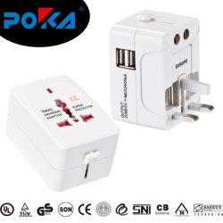 UK US Au EU Travel Adapter مع 2 USB 2.4A