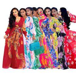 Los pequeños a Bohemia Plus Size vestidos largos de estilo étnico impresas florales sexy V Cuello vestido largo de manga larga vestidos de Chiffon