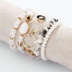 Mode Women Jewelry Elastic R Rope Stone Crystal kralen Circle Grind Multi-Layer 5 Armbanden set