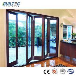 건축재료 나무로 되는 곡물 알루미늄 단면도 이중 유리를 끼우는 알루미늄 접히는 유리제 문