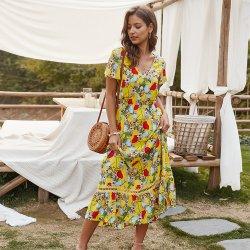 Vrouwen Zomerdames Sweet V-Neck Lady Fashion Printed Floral Girl Sexy lange Casual jurk