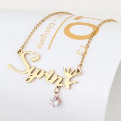Monili della collana di nome dell'oro del pendente 9K 14K 18K della lettera di alfabeto resi personali abitudine con il diamante