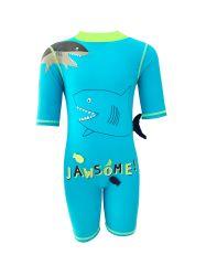 Swimwear Uit één stuk van de jongen met Korte Kokers en de Bescherming van de Zon voor snel-Droogt Jawsome
