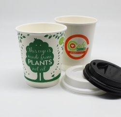 hecho personalizado quitarle Biodegradable Pla de papel desechables tazas de café