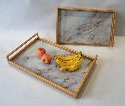 Rectângulo grande bandeja de metal (Food/Dring/fruto) com pegas