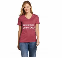 도매 승진 주문 로고 숙녀 형식 건조한 빠른 짧은 소매 체조 간결 공백 t-셔츠를 달리는 긴 소매 t-셔츠 여자의 v 목 스포츠 착용